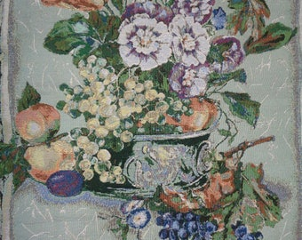 Vintage Machine Woven Floral Still Life Tapestry in Mint Condition which can hang on your wall with fabric curtain rod holders