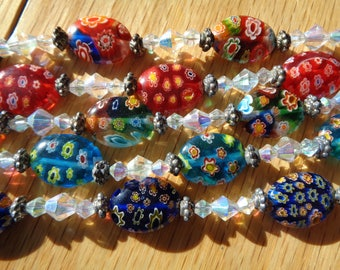 MILLEFIORE VENETIAN ART Glass Bracelets with  Lead Crystals between each glass bead with silver plate toggle enclosure