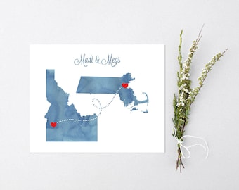 Wedding or Anniversary Two States Love - Watercolor Gift  - Personalized State Heart Natural Series - Custom Location Modern Art Print