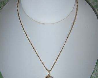 Gold Trimmed Seashell Pendant Necklace