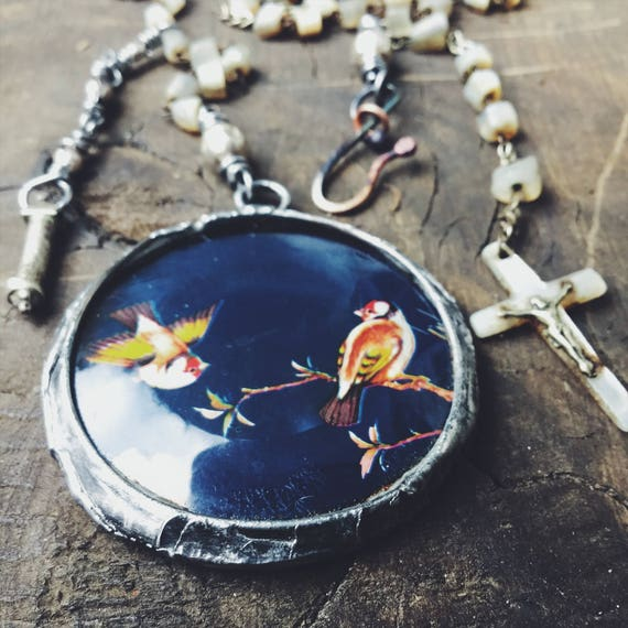 Vintage tin and soldered glass assemblage necklace with vintage rosary