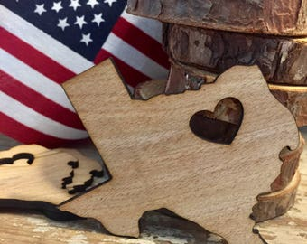 Texas shape wood heart magnet, cut out , engraved, custom, any state shapes, unfinished, state ornament,