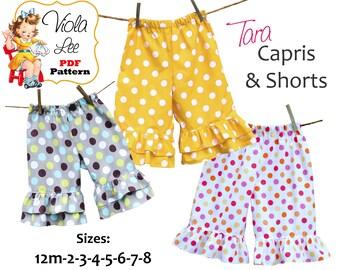 Tara Girls Ruffle Shorts Pattern & Ruffle Capris Pattern. Ruffle Pants Pattern. Girls Sewing Patterns. Toddler Sewing pdf Patterns. Download