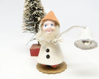 Vintage 1950's Santas Elf with Bell for Christmas, Hand Painted Celluloid Face