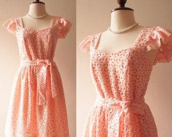 OLIVIA - Light Pink Dress Formal Lace Dress Short Bridal Dress or Floor Length Ruffle Sleeve Sweetheart Vintage Marie Antoinette Dress