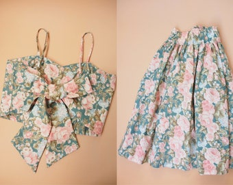 Size S- Crop Top and Skirt Set Green with Pale Pink Rose Garden  Floral Backless Style BAck Tie Bow and Skirt