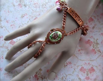 Forever Slave Bracelet, Gingerbread Hand Bracelet, Copper Hand Chain, BSue by 1928, Gingerbread, Flower Bracelet,Flower Cameo,Slave Bracelet