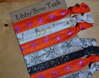 Set of Seven Halloween Spider Hair Ties Webs BOO