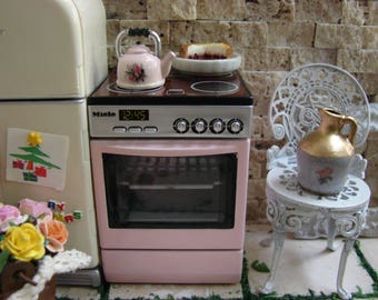 Dollhouse Miniature Shabby Pink Genuine Miele Stove with Working Lights and Sounds SO CUTE