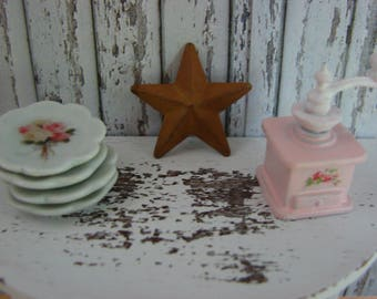 Dollhouse Miniature Shabby Chic Vintage Style Rusty Star Wall Art Wood and Metal Sign