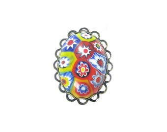Murano Glass Millefiori Oval Ring, Colorful Cocktail Ring, Adjustable Statement Ring, Italian Glass Jewelry, Venetian Jewelry, For Women