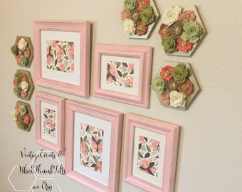 Nursery Picture Frames, blush pink, photo frame, wall decor, frame set, shabby chic, home & nursery, wedding, glass, mat, hardware