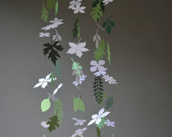 Flowers and leaves nursery mobile or baby mobile from white and green shades card stock --- Handmade, Paper flowers nursery or babyroom
