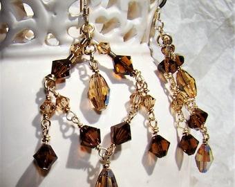 Swarovski Gold Filled Chandelier Earrings Cocoa