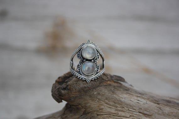 TRIBAL MOONSTONE RING- Sterling Silver- Gemstone Ring- Moonchild- Glitter- Galaxy- Bohemian-Statement Ring- Rare- Handmade crystal ring