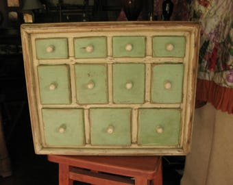 Handcrafted Antique Apothecary in Original Light Green Paint