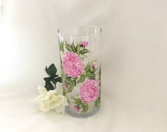 Pink hydrangeas hand painted personalizable glass base
