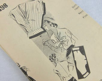 "Vintage 1940s Blouse Sewing Pattern, Mail Order, 34"" Bust"