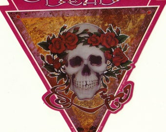 Grateful Dead Skull and Roses Sticker Triangle Marble Skull