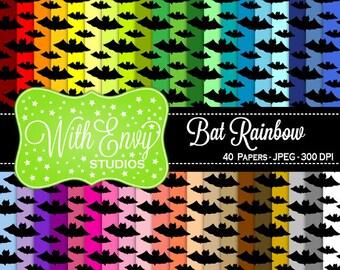 SALE  Rainbow Bat Digital Scrapbook Paper Pack - Bat Paper Set - Bat Scrapbook Paper - Rainbow Scrapbook Paper - Halloween Paper