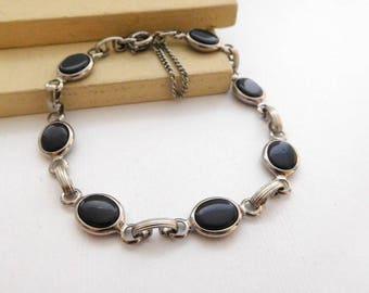 Vintage Bezel Set Simulated Black Onyx Silver Tone Link Mod Bracelet O43