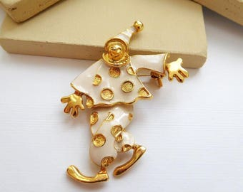 Vintage White Enamel Gold Tone Articulated Clown Estate Brooch Pin T2