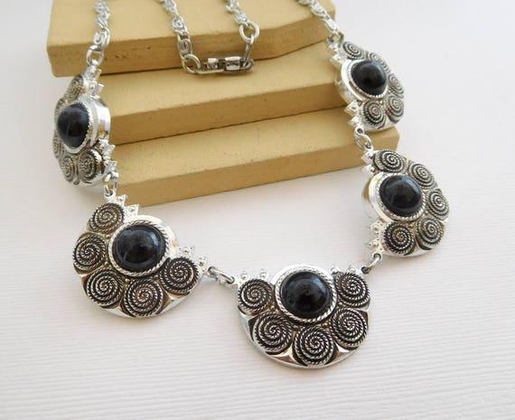 Vintage Silver Aluminum Black Aztec New Age Boho Tribal Necklace FF17
