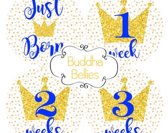 FREE GIFT Little Prince Baby Month Stickers - Royal Blue Baby - Royals Baby Newborn Set - Baby Boy Crown Baby Shower - Monthly Stickers