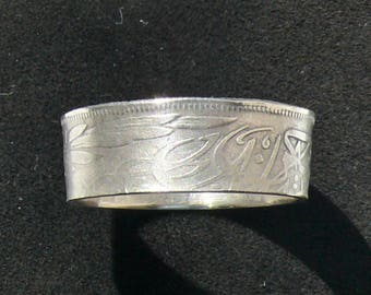 Silver Coin Ring 1917 Egypt 5 Qirsh, Ring Size 9 and Double Sided