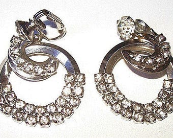 """Rhinestone Dangle Earrings Crescent Shaped Silver Metal Clip On's 1 3/4"""" Vintage"""