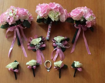 10 pcs Bridal Wedding Bouquet Package, Ready To Ship, Pink and Cream Roses and Hydrangea Bridal Bouquet, Boutonnierres, Corsages, Flowergirl