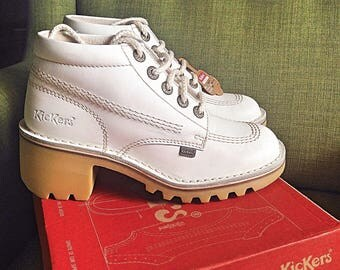 White leather lace chunky Kickers Kopey hi boots
