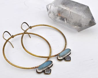 Atlantis Hoop Earrings with Adventurine Stones and Mineral Stampings