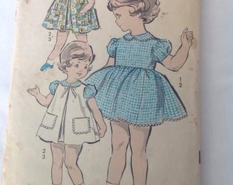 1950's Toddler's Dress and Pinafore Pattern, Advance girl's dress Pattern Size 1