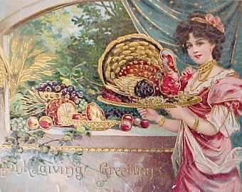 Lovely Edwardian Thanksgiving Card with Jewel Colors for Craft Project
