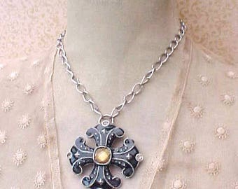 Pretty Renaissance Look Necklace with Enameled and Jeweled Pendant