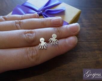 Cute Octopus Stud Earrings - Handmade Silver Octopus Studs - Silver Octopus Charms - Octopus Jewellery