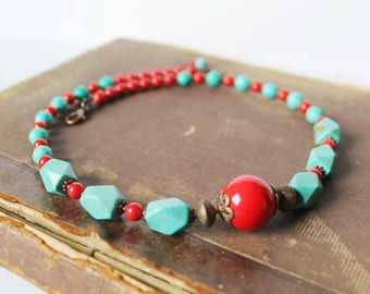Turquoise Red Necklace Turquoise Jewelry Turquoise Beads Necklace Turquoise Copper Necklace Turquoise Red Jewelry Ethnic Tribal Gift idea