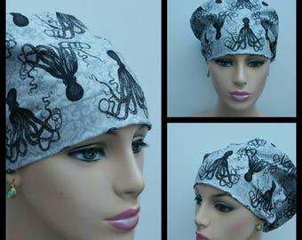 Mini - Chemo Cap - Nurses Hat - European Style - Black Octopus - 100 % Cotton