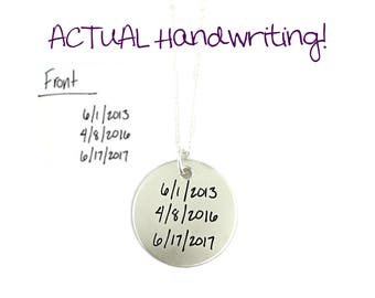 ACTUAL Handwriting Signature Heirloom Keepsake Bespoke Pendant Sterling Silver Custom Necklace - Hand Stamped Jewelry - Personalized Jewelry