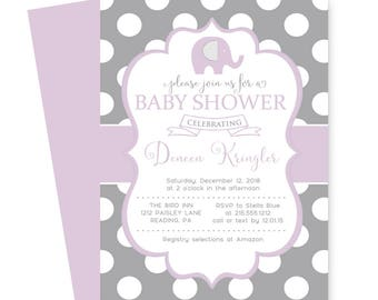 Purple Elephant Baby Shower Invitation Girls -- Joyful Sprinkle -- Invites Cute -- Baby Girls Party -- Polka Dots -- Printable or Printing