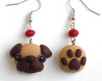 Pug and paw print dog earrings