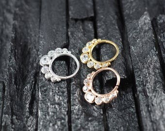 OVAL cluster CZ diamond  hoop Daith earring / Cartilage / Septum ring / Nose ring
