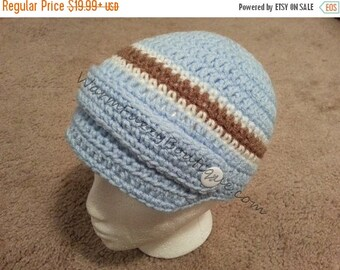 SUMMER SALE Baby Newsboy Hat - Light Blue Cafe White Newborn Beanie Halloween  Costume Winter Outfit