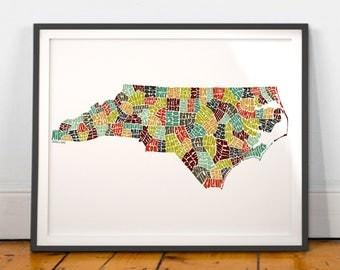 North Carolina typography map, North Carolina map art, North Carolina art print, North Carolina gift, hand drawn state typography series