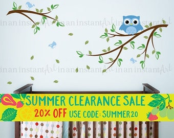 Owl on a Branch with Birds Wall Decal for Baby Nursery, Kids or Childrens Room 010