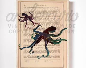Romantic Tentacles Octopus Mixed Media Collage Vintage Illustration Print on Unique Antique Unframed Upcycled Bookpage