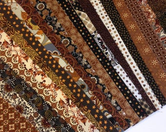 Jelly Roll 20 different fabrics, Quilters Time Saver rich earth tones, Copper/Brown/Black Jelly Roll