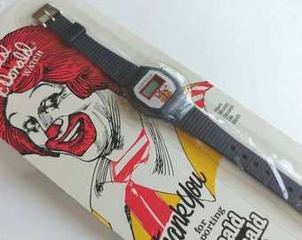 """Vintage 1985 """"The Official Ronald McDonald Watch""""- Digital New in Package McDonald's Promotional Collectible Fast Food Kitschy 80's Kid"""