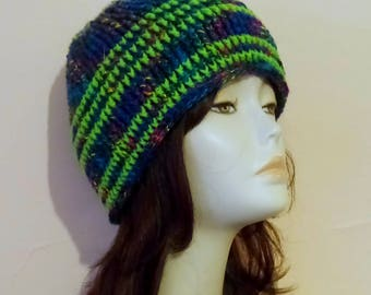 Crochet Ribbed Hat, Crocheted Beanie Hat, Ribbed Brim Beanie Hat, Textured Hat, Skullcap Beanie, Crochet Boho Hat, FREE UK DELIVERY